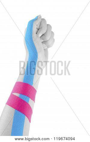 Kinesio Tape On Female Hand.