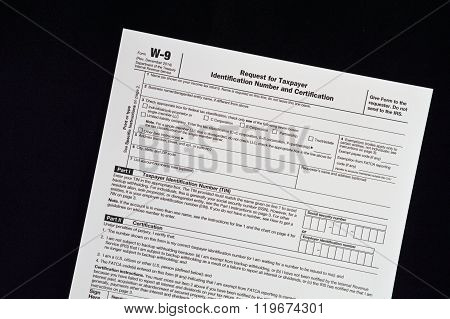 W-9 IRS form Request for Taxpayer ID number
