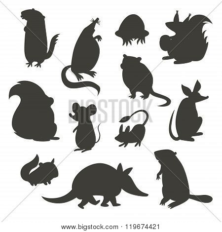 Set of rodent gray silhouettes. Vector illustration isolated on a white background. Beaver weasel squirrel muskrat tarbaganchik muskrat Battleship bandicoot poster