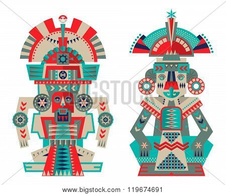 Aztec And Maya Ceremonial Sculptures.