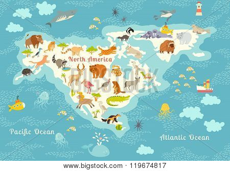 Vector y foto animals world map north america bigstock animals world map north america colorful cartoon vector illustration for children and kids preschool education baby continents oceans drawn earth gumiabroncs Choice Image