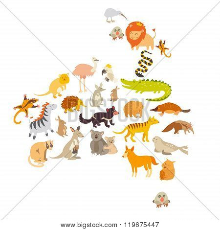 Australian mammal map silhouettes. Isolated on white background vector illustration