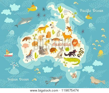 Animals world map Australia. Vector illustration