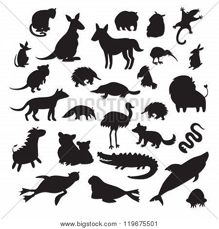 Australian animals silhouettes isolated on white background vector illustration