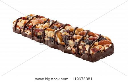 Chocolate Energy Bar With Fruits And Nuts