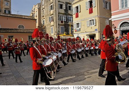 Procession Of Musicians At Easter In Corfu