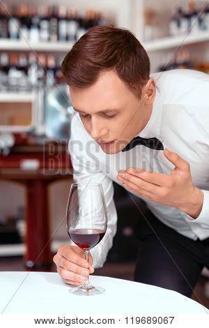 Professional sommelier tasting wine