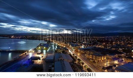 Punta Arenas at sunset. Punta Arenas Chile