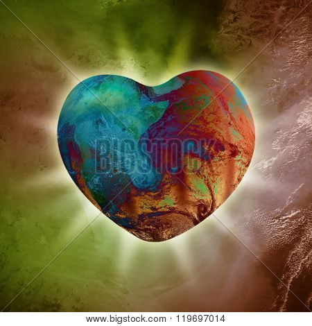 Conceptual image of Heart-shaped Planet Earth emanating with pure love energy