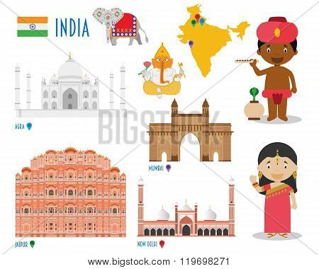 India Flat Icon Set Travel and tourism concept. Vector illustration