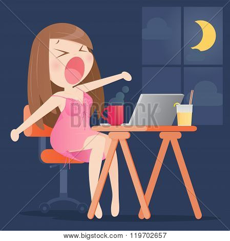 Woman Working Overtime In The Home