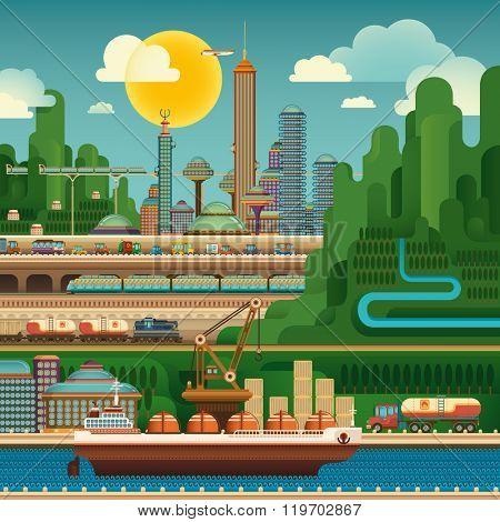 Urban city life. Vector illustration.