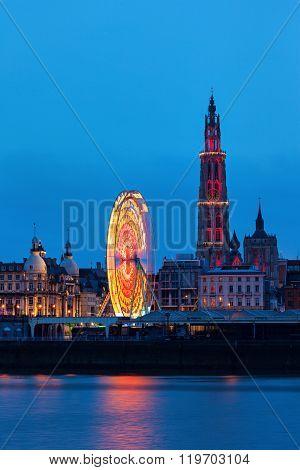 Panorama of Antwerp across Scheldt River. Antwerp Flemish Region Belgium