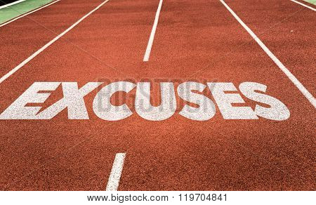 Excuses written on running track
