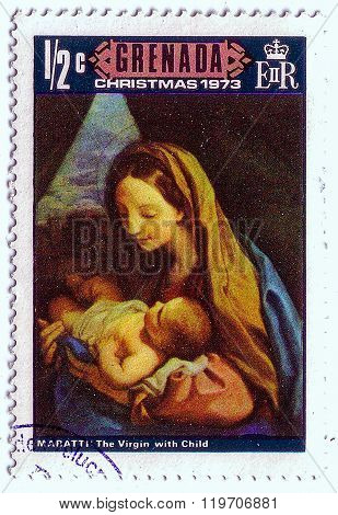 Grenada - Circa 1973: A Stamp Printed In Grenada Shows A Painting By The Artist Maratti