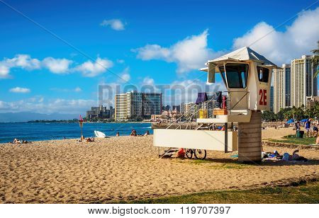 Beach-goers in Waikiki Beach Area