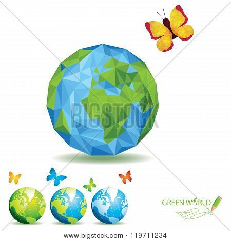 world green polygon nature vector earth nature