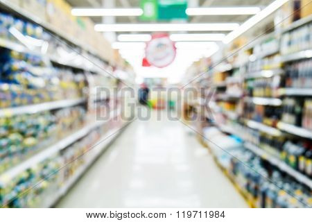 Blurred aisle in supermarket