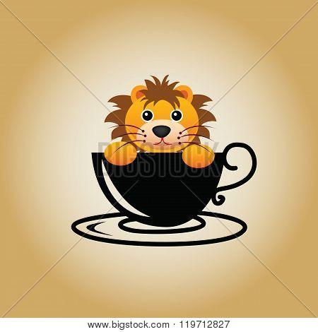 Animal coffee cartoon cute logo cup drink vector