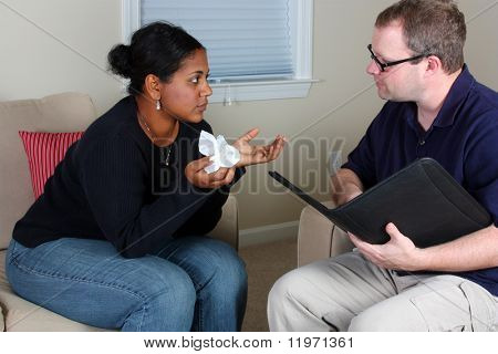 Woman getting counseling while in an office