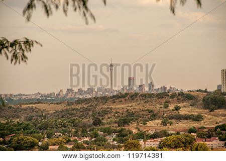 Johannesburg city skyline with suburb in the foreground