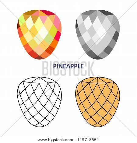 Low Poly Colored & Black Outline Template Pineapple Gem Cut