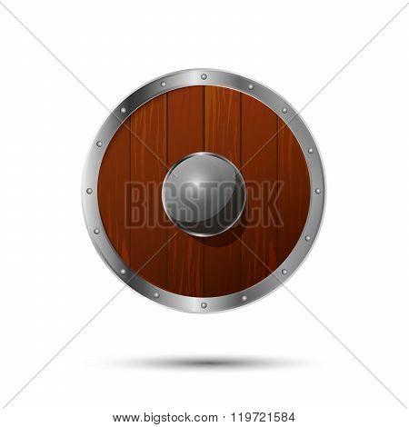 Round medieval shield, cartoon icon on white