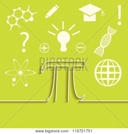 Vector set of flat line of science infographic. Inspiration, idea and discovery theme. Pi symbol con