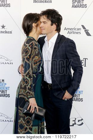 Nikki Reed and Ian Somerhalder at the 2016 Film Independent Spirit Awards held at the Santa Monica Beach in Santa Monica, USA on February 27, 2016.