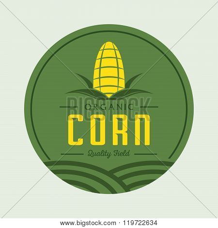 Corn Logo Design With Corn Field