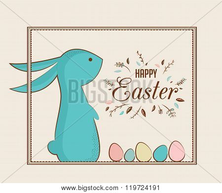 Easter bunny and Easter eggs. greeting card
