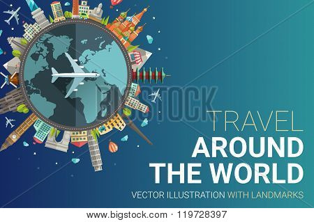 Around the world flat design postcard illustration
