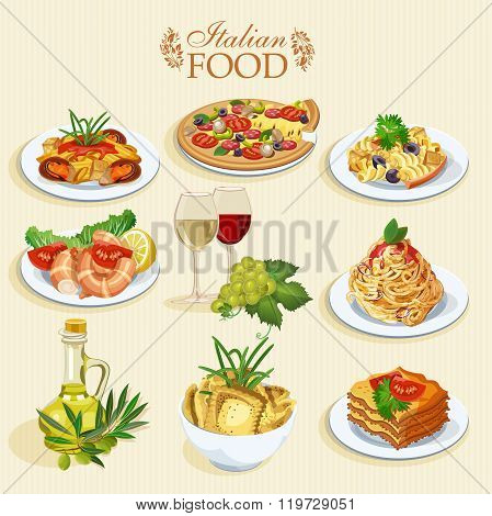 Set of food icons isolated on white background. Italian cuisine. Spaghetti with pesto, lasagna