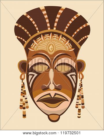 African ethnic indigenous female mask.  brown mask face African women. Vector illustration.