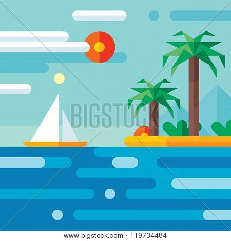 Summer vacation travel - vector concept illustration in flat style design.