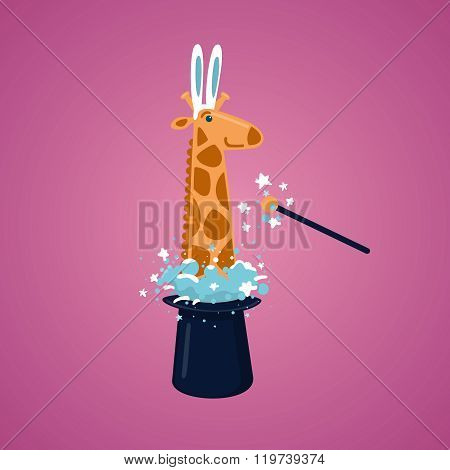 Giraffe in a magic hat