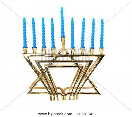 A Hanukkah menorah, isolated.