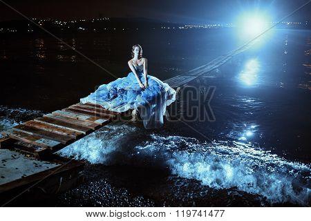 Beautiful lady in blue dress