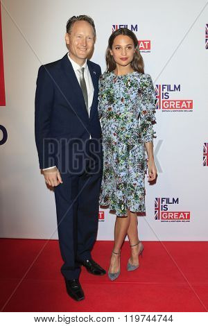 LOS ANGELES - FEB 26:  Chris O'Connor, Alicia Vikander at the The Film is GREAT Reception Honoring British 2016 Oscar Nominees at the Fig and Olive on February 26, 2016 in West Hollywood, CA
