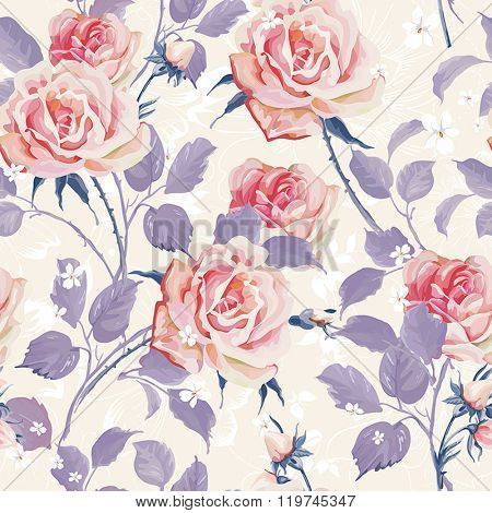 Beautiful Seamless wallpaper with flowers on a white background. Elegance floral vector illustration