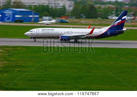 Aeroflot Russian Airlines Boeing 737-8Lj Aircraft In Pulkovo International Airport