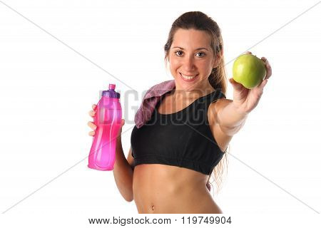 Healthy lifestyle. Fitness woman drinking water