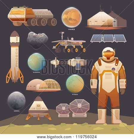 Set of flat vector elements on the theme of astronomy, space exploration, colonization of Mars, moon, Europa and Titan. Space adventure. The first colonies. Terraforming. Modern flat design. poster