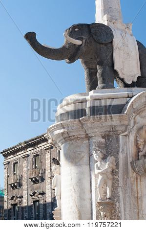 The famous lava stone statue of an elephant and its obelisk in Catania Sicily the symbol of the town poster