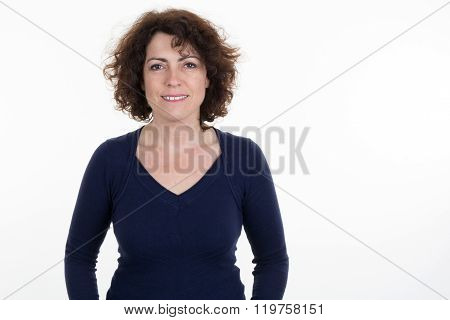 Mid Adult Happy Smiling Woman Portrait, Caucasian Middle Aged 40 Years Old Woman In Coat And Hat Ove