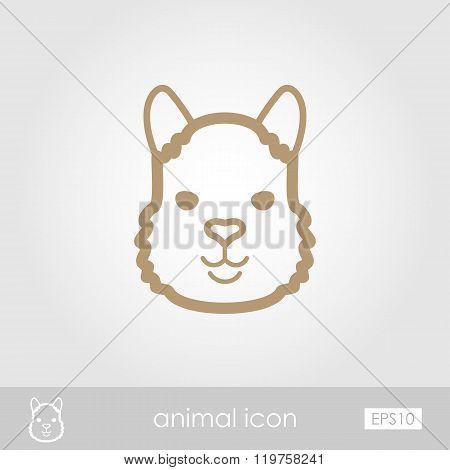 Lama Outline Thin Icon. Animal Head Vector Symbol