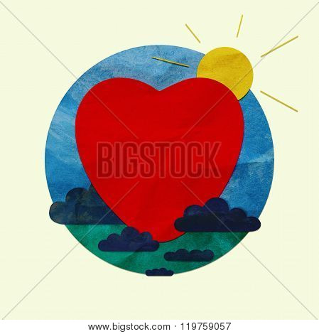 Red heart in a blue circle