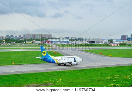 Ukraine International Airlines Boeing 737-500 Aircraft  In Pulkovo International Airport