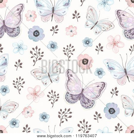 Seamless floral pattern with flying butterflies and flowers in vintage watercolor style, vector illustration.