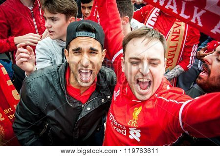 Liverpool Football Club Supporters Outside Anfield on Last Day of Football Season LIVERPOOL, UK - MA